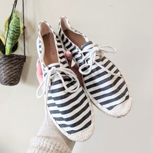 J. CREW Striped Espadrille Lace Up Flats Size 7